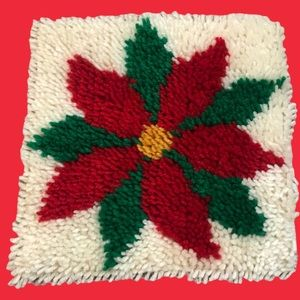 Completed latch hook Poinsettia handmade